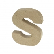 Paper Mache Small Letter S - 10cm high x 2cm thick