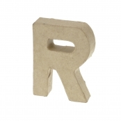 Paper Mache Small Letter R - 10cm high x 2cm thick