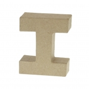 Paper Mache Small Letter I - 10cm high x 2cm thick
