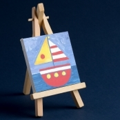 Mini Painting Canvas 7.5 X 7.5cm Complete With Easel