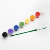 Acrylic Paint Pot and Brush Set - 8 Colours