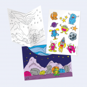 Alien & Monsters Create A Scene Colour In Card & Sticker Kit SINGLE