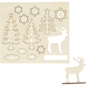 Tree And Reindeer 3D Wooden Cutouts
