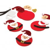 Glitter Foam Christmas Santa Decorations - 6 Pack