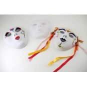 White Plastic Flocked Face Mask