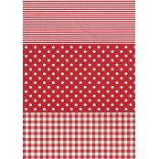 Decopatch Paper 484 - Full Sheet - Red Stripe, Polka and Gingham