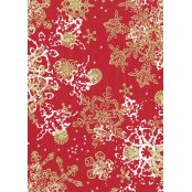 Decopatch Paper 482 - Half Sheet - Red, Gold Snowflakes