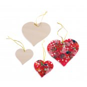 Small Wooden Hanging Heart - 6cm