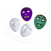 White Plastic Flocked Face Masks (12 Pack)