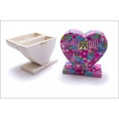 Heart Shaped 100% Natural Wood Trinket Box
