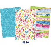 Decopatch Blue Paper Pack - 3 Half Sheets , Floral, Mosaic, Mottled