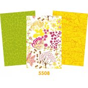 Decopatch Paper Pack - 3 Half Sheets , Floral, Lime Green & Yellow Mottled