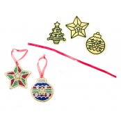 Glitter Christmas Decorations  - 6 Pack