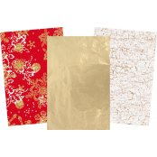 Christmas Decopatch Paper Pack - 3 Half Sheets , Red, Gold and White