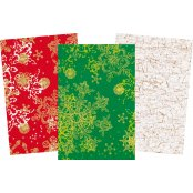 Decopatch Christmas Paper Pack - 3 Half Sheets Snowflakes and Mottled