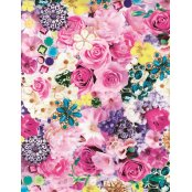 Decopatch Paper 639 - Half Sheet -  Kitsch Flowers and Jewels