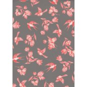 Decopatch Paper 649 - Half Sheet- Pink Birds On Grey Background