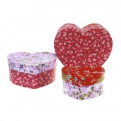 Heart Shaped Paper Mache Boxes - 3 Pack