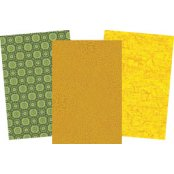Decopatch Green Paper Pack - 3 Half Sheets, Patterned and plain