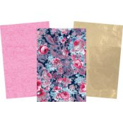 Decopatch Purple  Paper Pack - 3 Half Sheets Floral, Gold & Pink