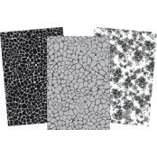 Decopatch Black Paper Pack - 3 Half Sheets, Floral and Mottled