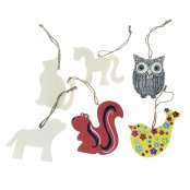 Wooden Animal Decorations - 6 Pack