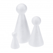 Polystyrene Cone Bodyshape Blanks - Small 55mm - 10 Pack