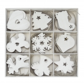 Selection Box Of 72 Wooden Christmas Decorations