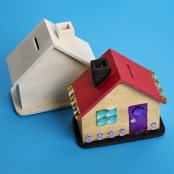 Wooden House Coin Bank