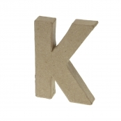 Paper Mache Small Letter K - 10cm high x 2cm thick