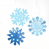 Snowflake Decoration Kits - Scratch Art - Pack of 12