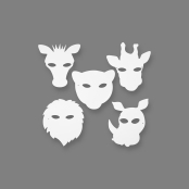 Jungle Animal Masks - Pack of 16