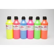 Fluorescent Fabric Paint Pack - 300ml 6 Pack