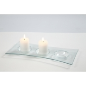 Oblong Clear Glass Candle Holder Dish - Single