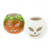 Halloween Ceramic Pumpkin Candle Holder - Glazed