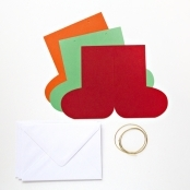 Hanging Stocking Coloured Christmas Cards And Envelopes - Pack Of 12
