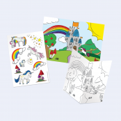 Unicorn Scene & Stickers to Colour in