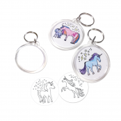 Unicorn Keyrings - 4 different Unicorns to colour in