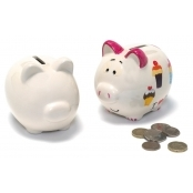 Unglazed Ceramic Piggy Coin Bank - Pack of 2