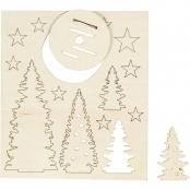 Trees And Stars 3D Wooden Cutouts