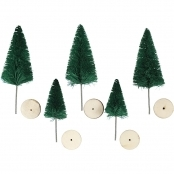 Decorative Green Christmas Trees 5 Pack 40mm And 60mm