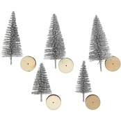 Decorative Silver Christmas Trees 5 Pack 40mm And 60mm