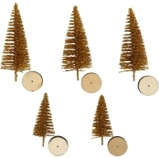 Decorative Gold Christmas Trees 5 Pack 40mm And 60mm