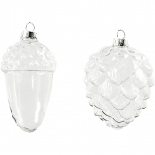 Glass Hanging Decorations 2 Designs Pack Of 4