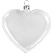 Glass Hanging Heart With Metal Hanger   Pack of 4    8cm Diameter