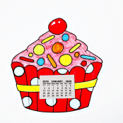 Cupcake Colour In Calendar Craft Kit - Pack Of 10
