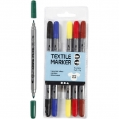 Bright Colours Textile Markers(Pack Of 6 Twin Tip 2.3 + 3.6mm)