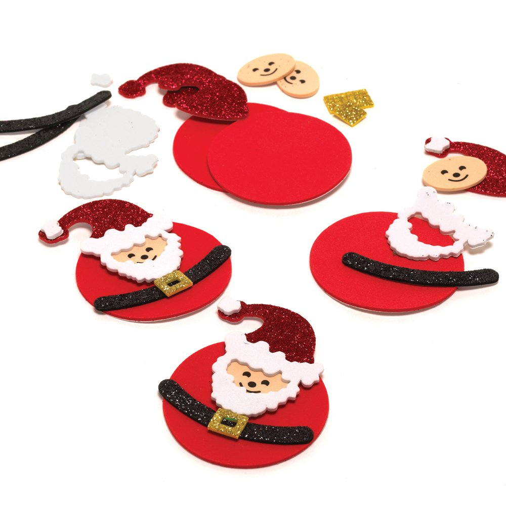 Glitter Foam Christmas Santa Decorations