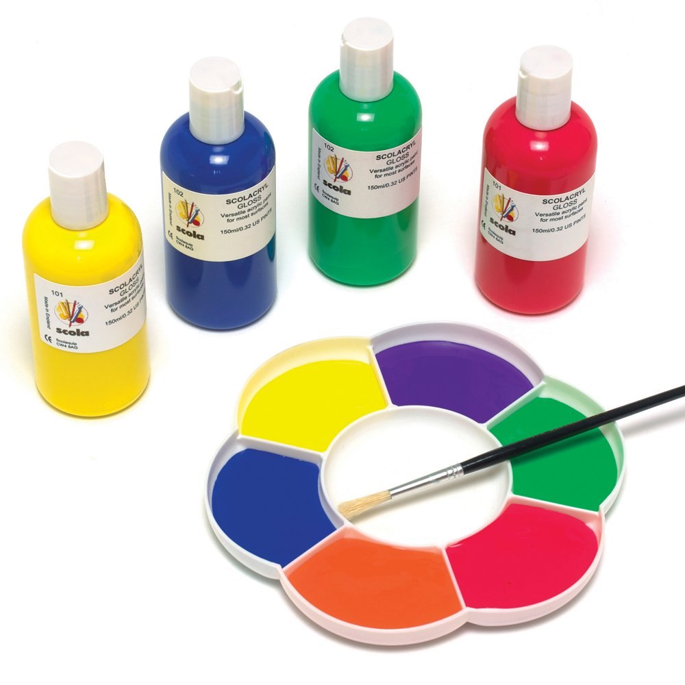 ready mixed acrylic paint red yellow blue green white black paints pots and brushes from. Black Bedroom Furniture Sets. Home Design Ideas