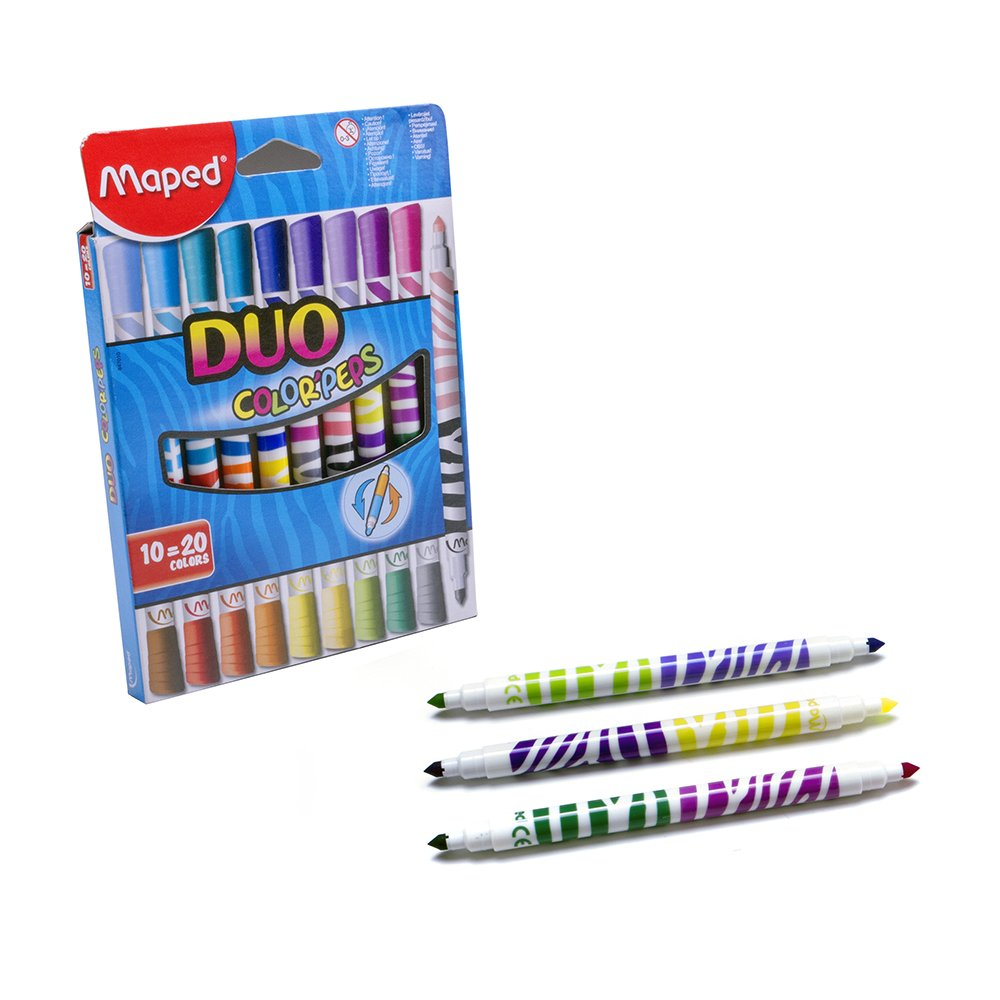 Maped Duo Colour Pens Pack Of 10 FeltFibre Tip